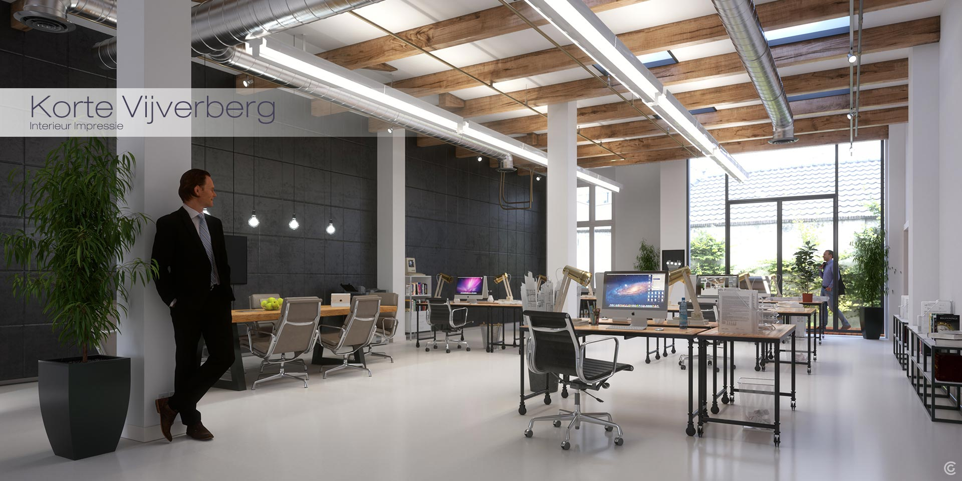 Interior impression of a future office in Den Haag netherlands. House of the King.
