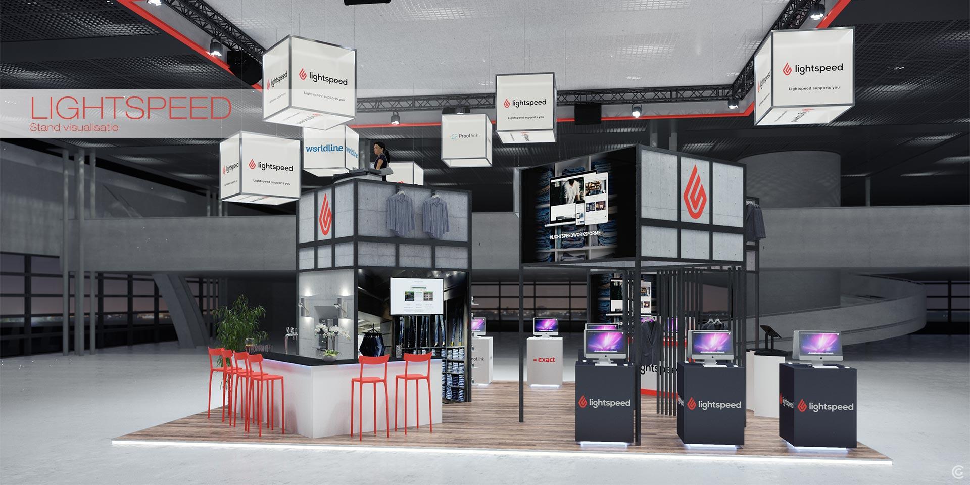 Stand concept visualisatie project Lightspeed beurs Utrecht.