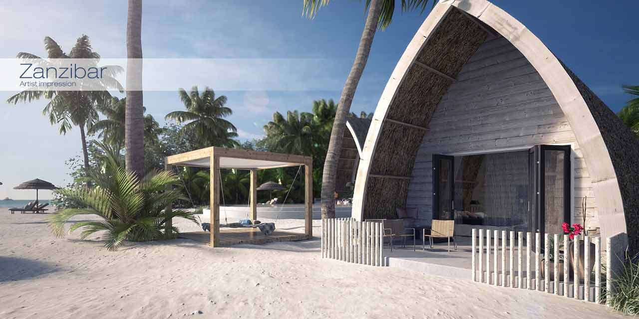 artist impression of an architectural project in Zanzibar.